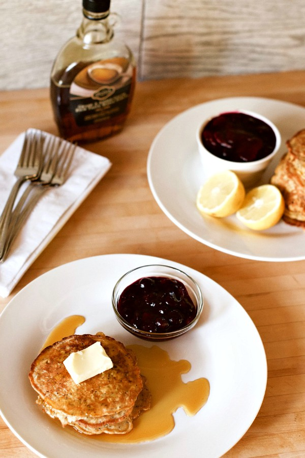 Lemon Poppyseed Pancakes with Berry Compote