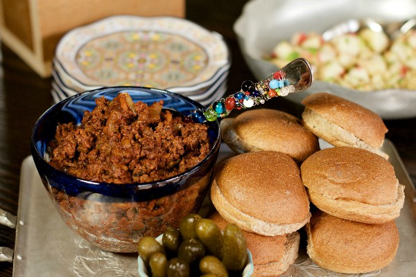 deconstructed sloppy joes on a tray