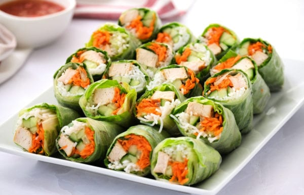 a plate of summer spring rolls