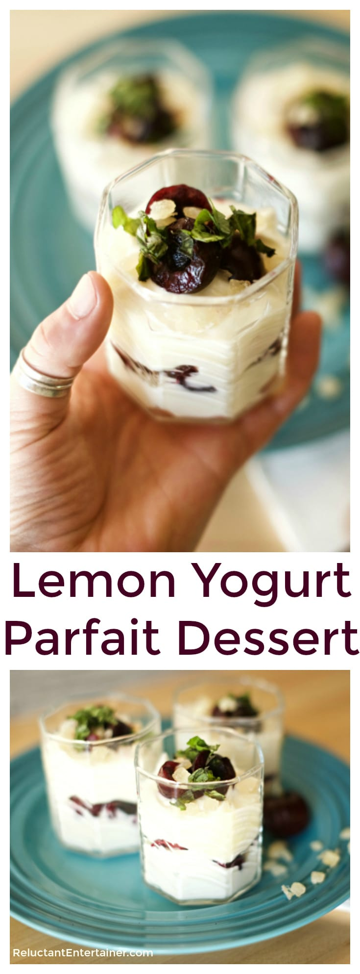 This Lemon Yogurt Parfait dessert is delicious for breakfast, but is so cheesecakey rich and sweet, it can easily pass as dessert for dinner!