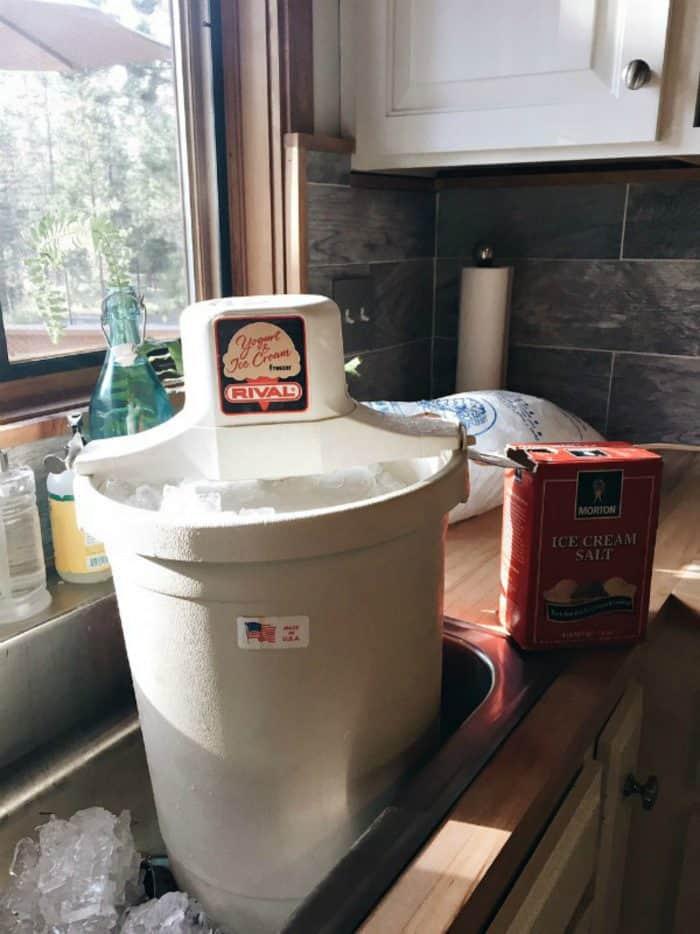 Old-Fashioned Homemade Vanilla Ice Cream - ice cream maker