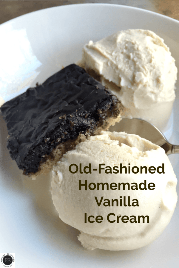 2 scoops of Old-Fashioned Homemade Vanilla Ice Cream