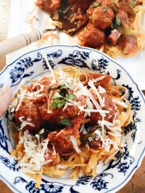 Yellow Squash Zoodles with Meatballs