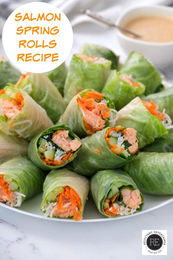 serving platter of Salmon Spring Rolls