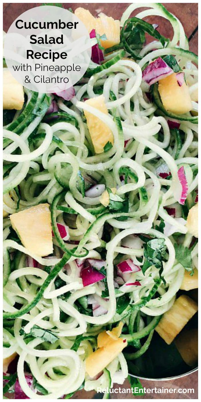 Spiralized cucumbers with pineapple chunks and cilantro