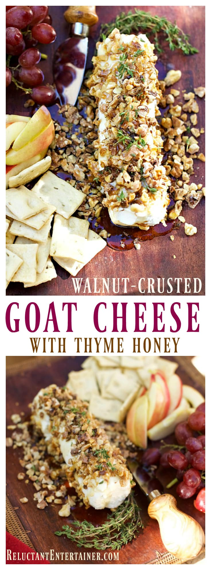 Walnut-Crusted Goat Cheese with Thyme Honey is an elegant appetizer to serve at any dinner party, along with your favorite crackers and grapes