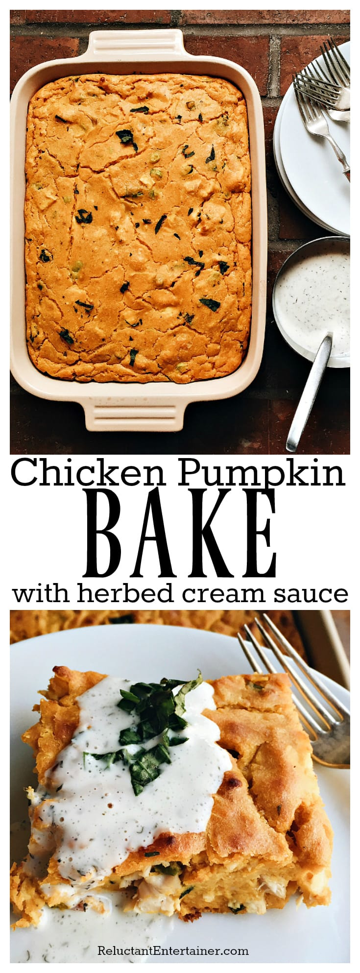 Chicken Pumpkin Bake with Herbed Cream Sauce is the ultimate fall dish to make ahead, and bake right before company comes to dinner