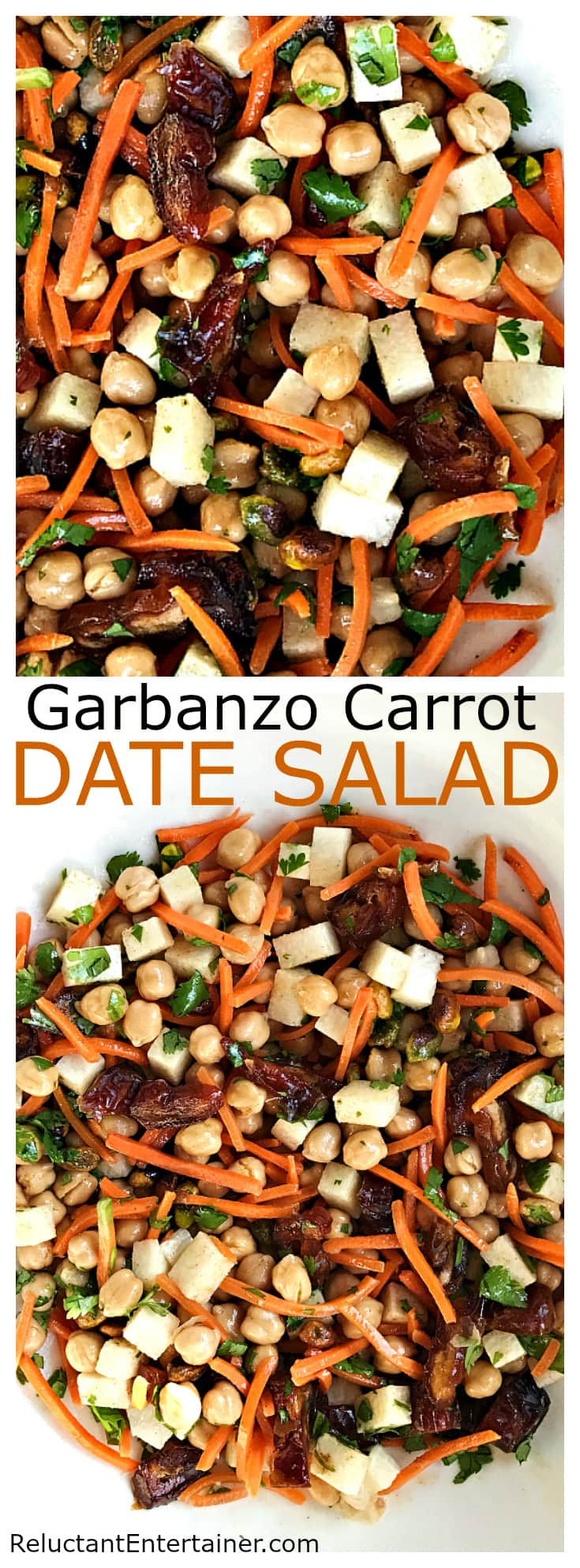 Garbanzo Carrot Date Salad at ReluctantEntertainer.com
