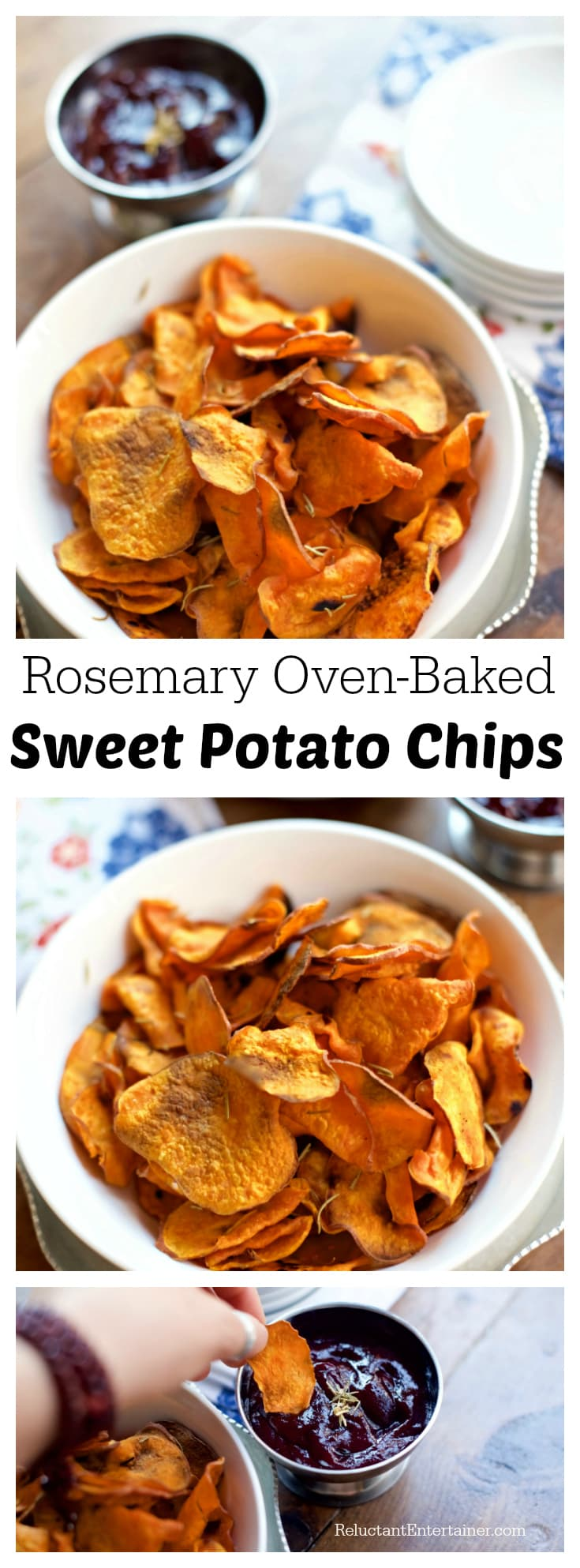 Rosemary Oven Baked Sweet Potato Chips Reluctant Entertainer