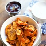 Rosemary Oven Baked Sweet Potato Chips at ReluctantEntertainer.com