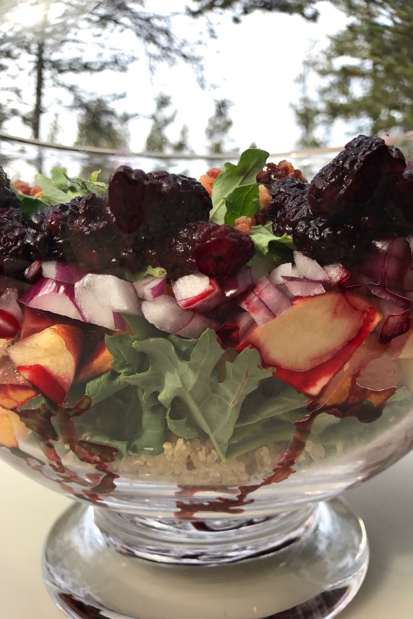 Layered Holiday Kale Berry Salad | ReluctantEntertainer.com
