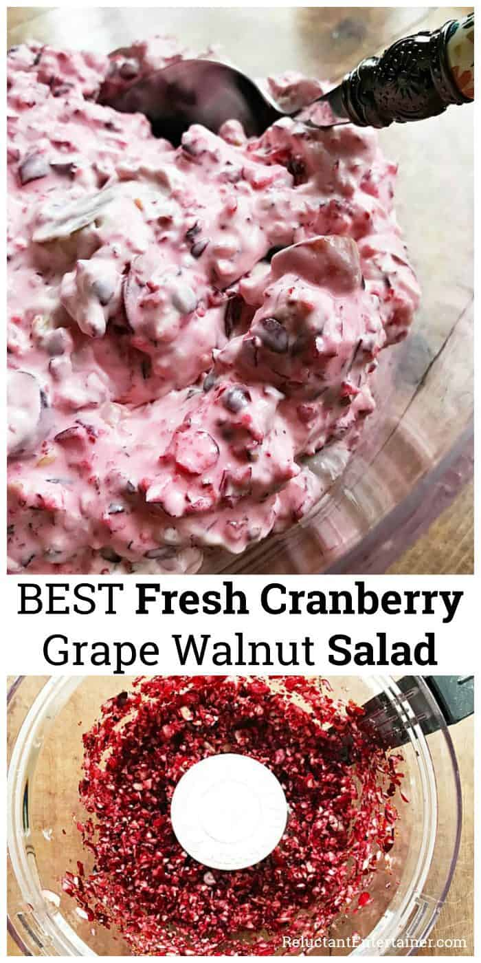 BEST Fresh Cranberry Grape Walnut Salad Recipe