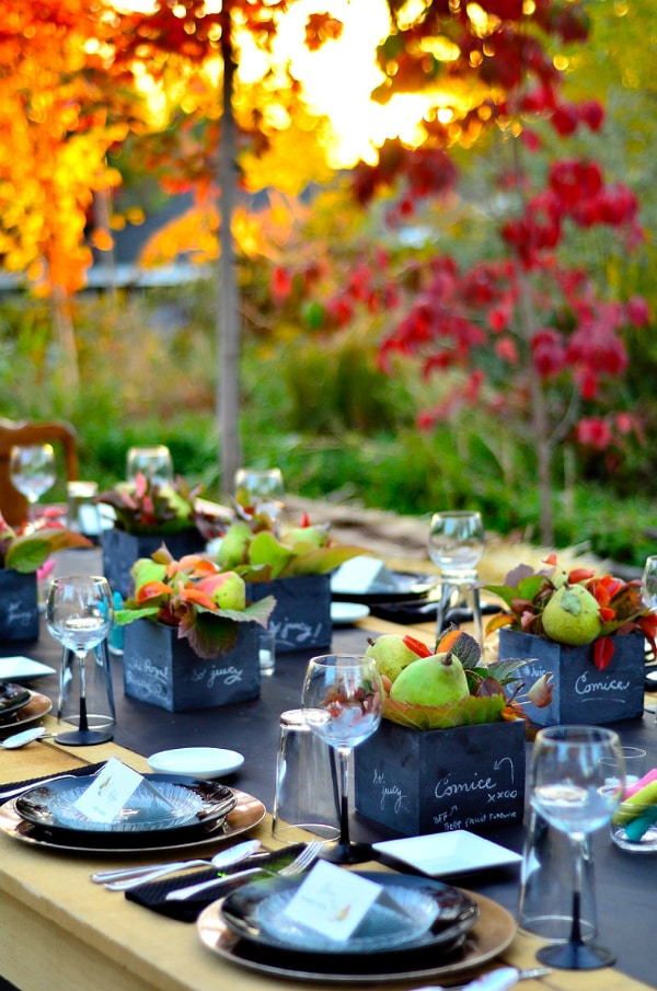 beautiful pear tablescape in the outdoors