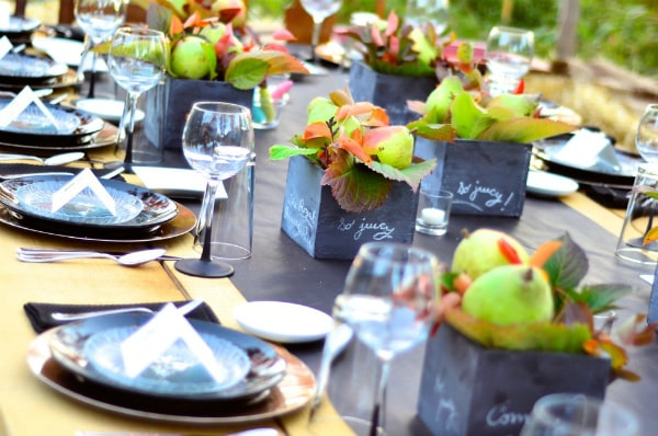pear tablescape in the outdoors