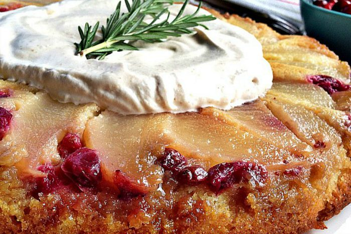 elegant pear upside down cake