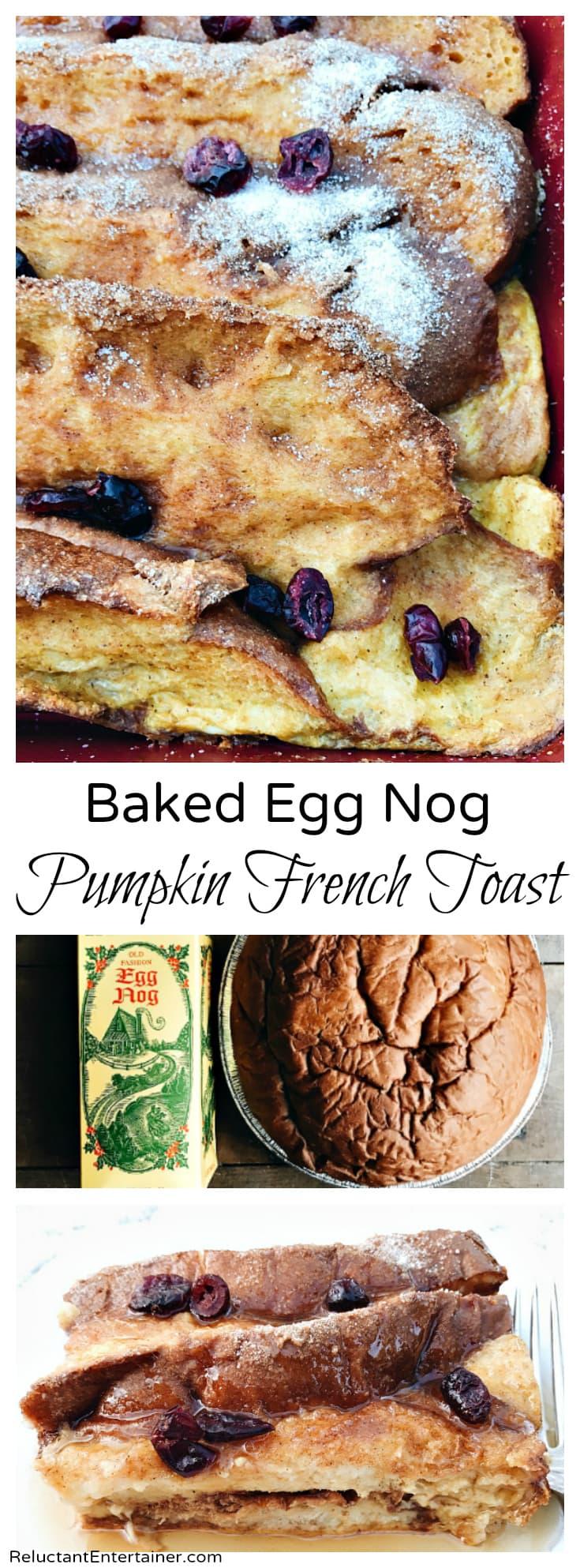 Baked Egg Nog Pumpkin French Toast