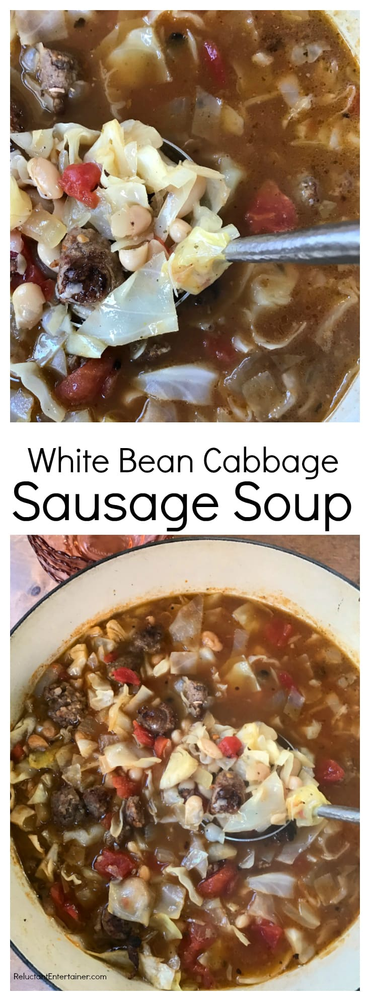 White Bean Cabbage Sausage Soup at ReluctantEntertainer.com