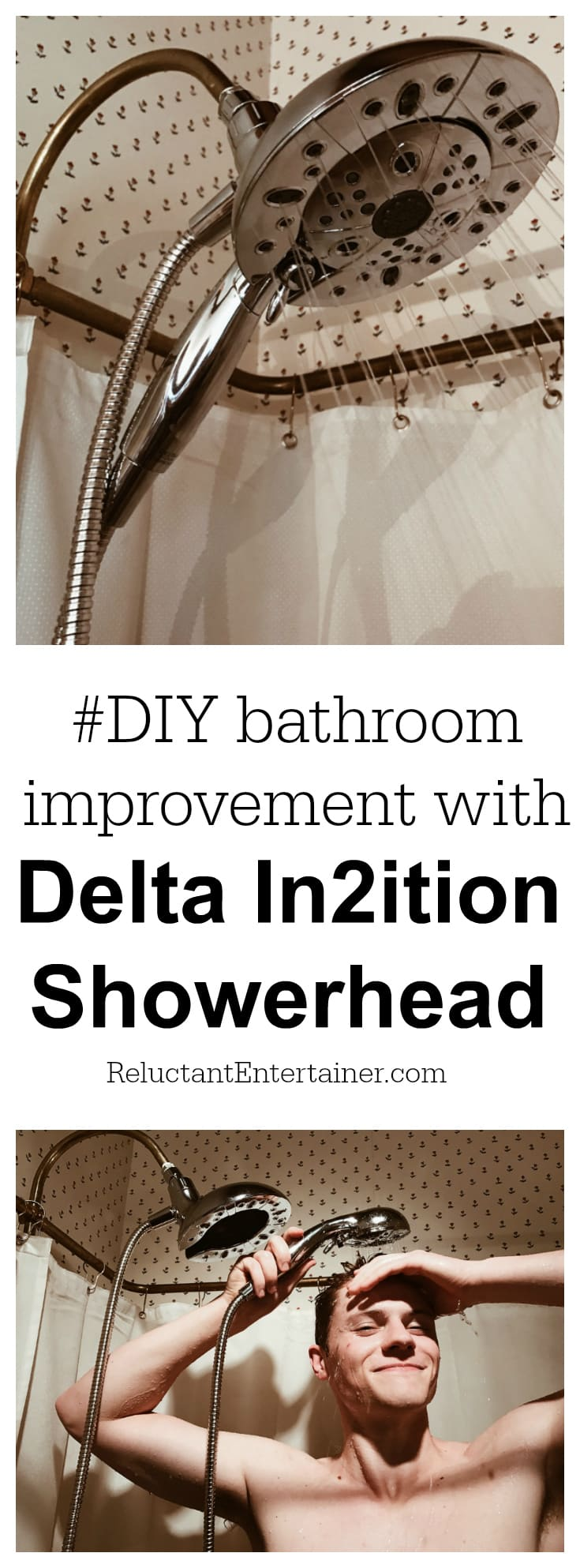 #DIY Bathroom Improvement with Delta In2ition Showerhead at ReluctantEntertainer.com