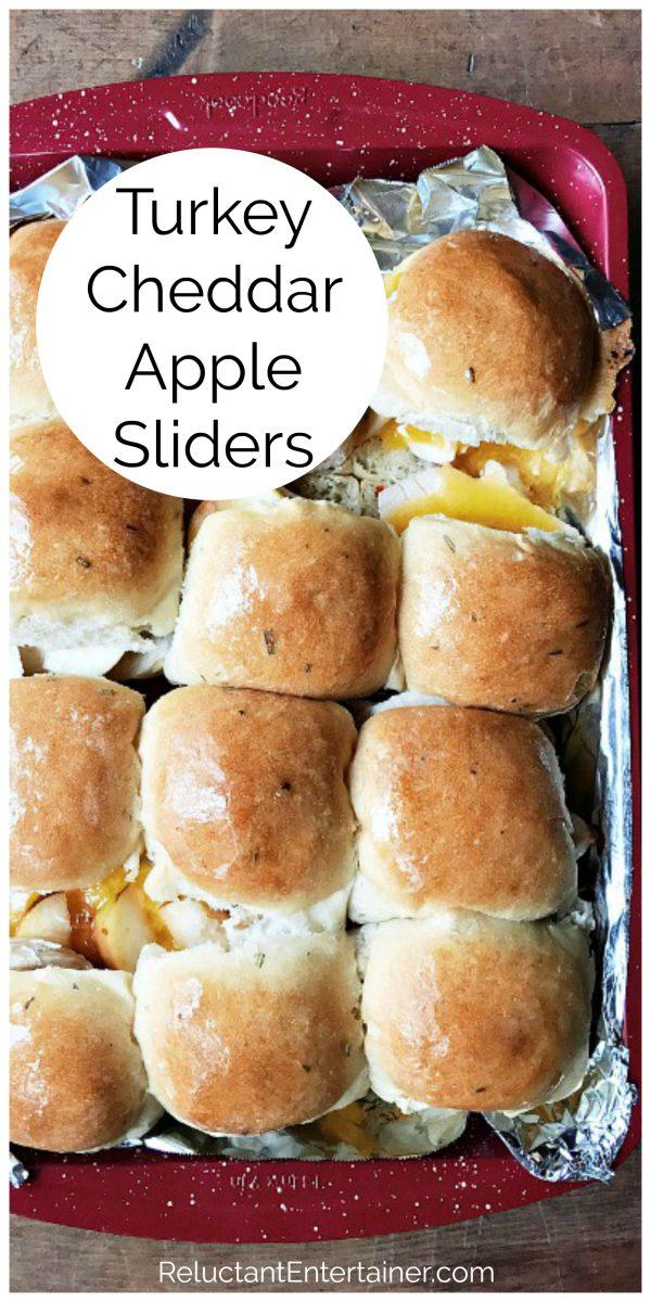 9x13 pan of turkey cheddar apple sliders