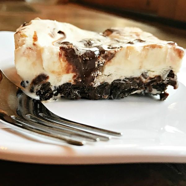 White Chocolate Peppermint Bark Ice Cream Cake