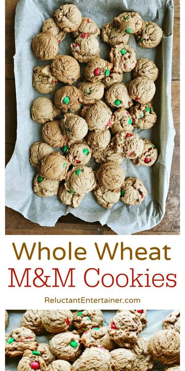 couple dozen round whole wheat M&M cookies