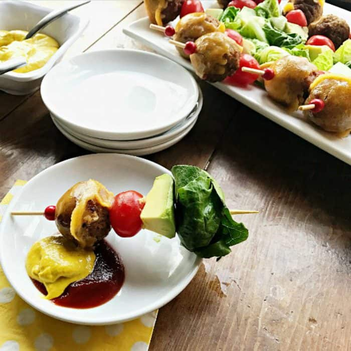Avocado Cheeseburger Meatballs Appetizer on a stick