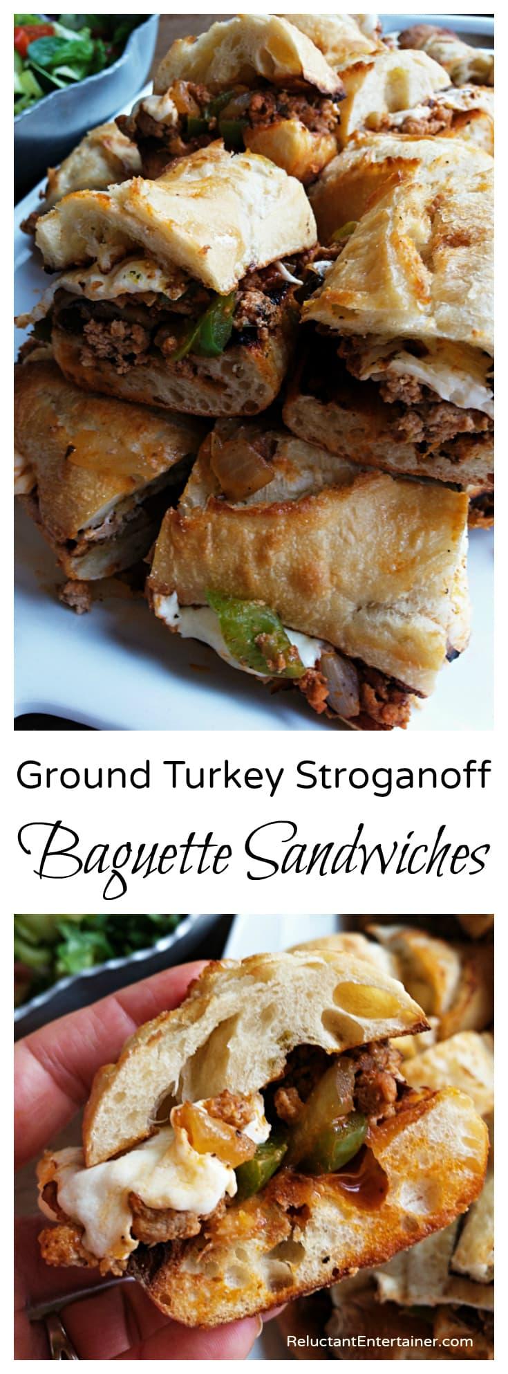 Ground Turkey Stroganoff Baguette Sandwiches