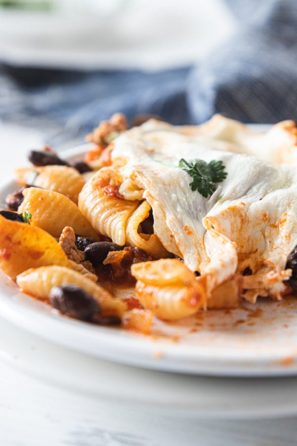 cheesey Mexican Ground Turkey Olive Pasta Bake on plate
