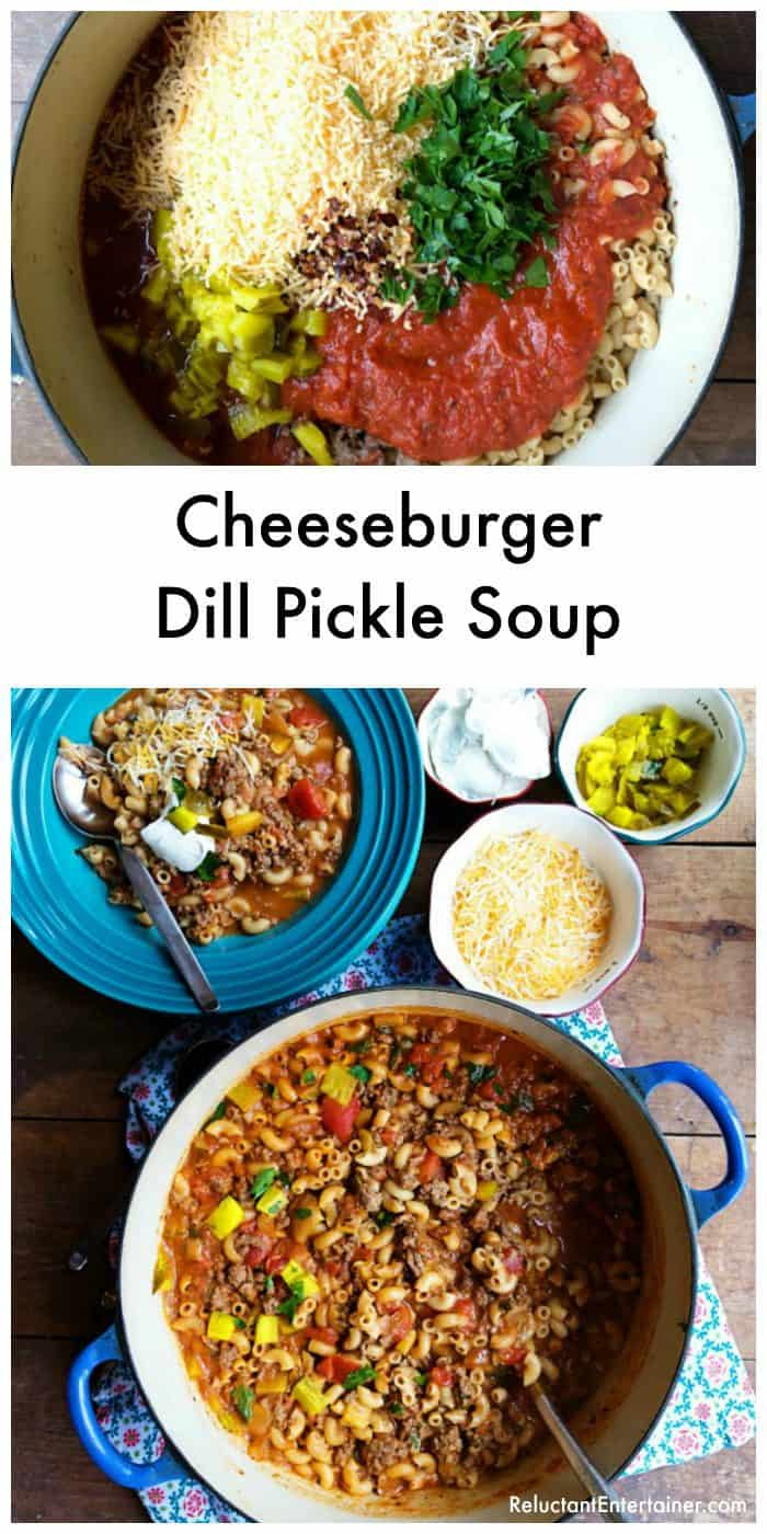 Cheeseburger Dill Pickle Soup