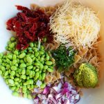 Whole Wheat Pasta Edamame Pesto and Peas