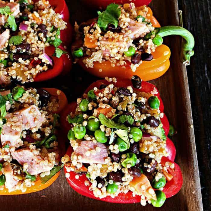 Leftover Ham Quinoa-Stuffed Peppers with Peas Recipe