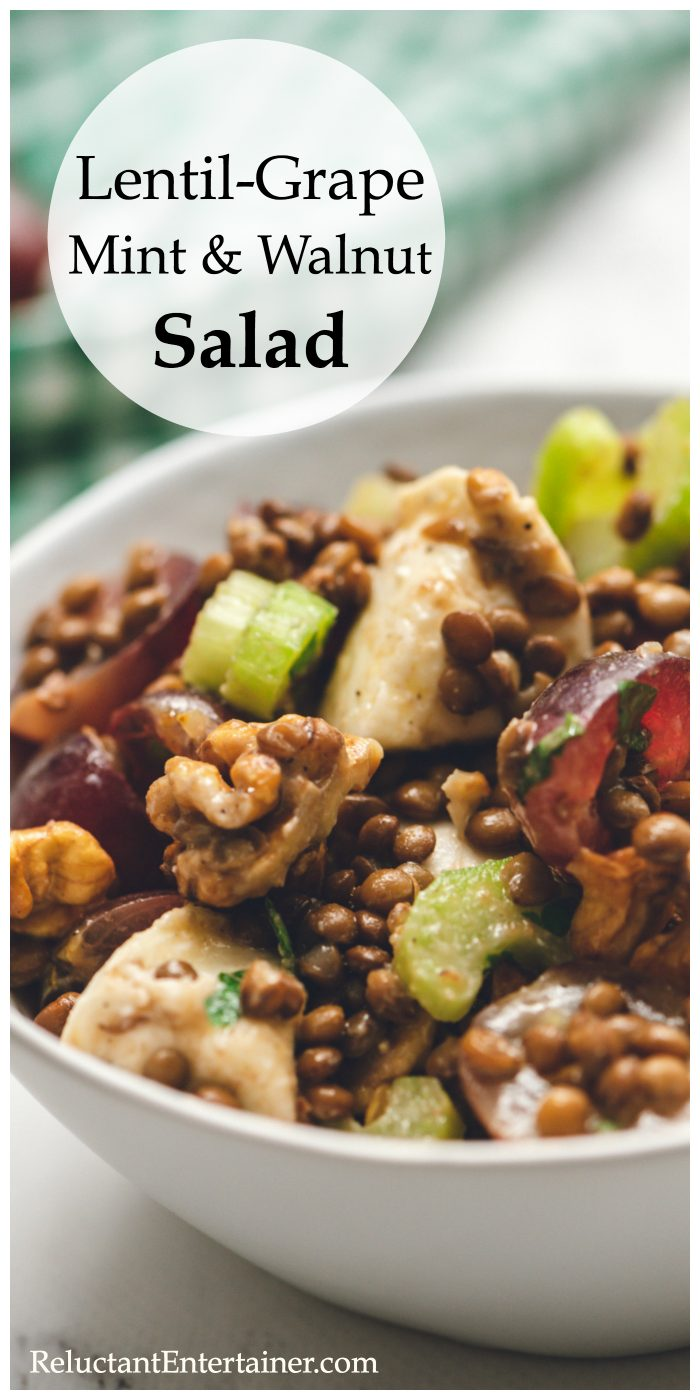 Lentil-Grape Mint Walnut Salad