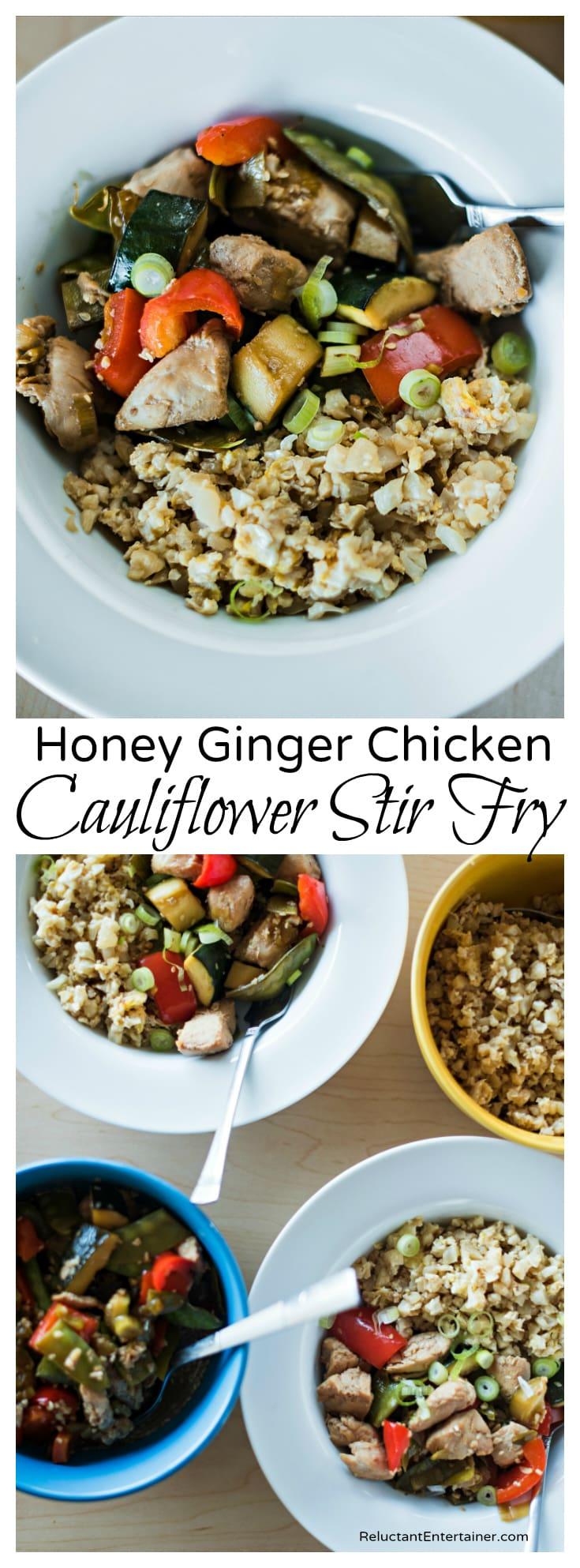 Honey Ginger Chicken Cauliflower Stir Fry