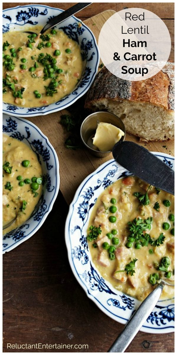 bowls of Red Lentil Ham Carrot Soup Recipe