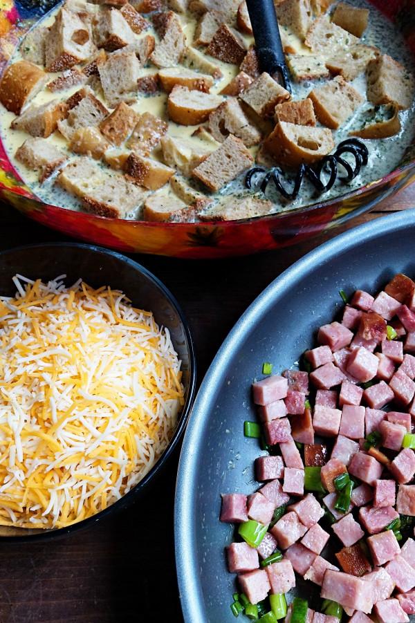 Baguette Ham Overnight Breakfast Casserole