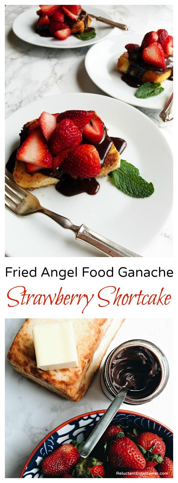 Fried Angel Food Ganache Strawberry Shortcake