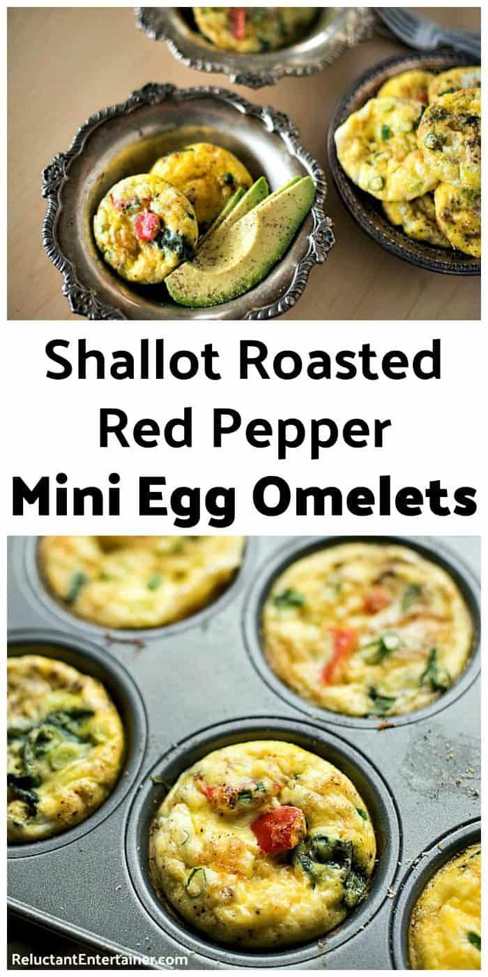 Shallot Roasted Red Pepper Mini Egg Omelets Recipe