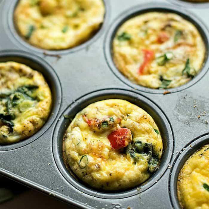 BEST Shallot Roasted Red Pepper Mini Egg Omelets