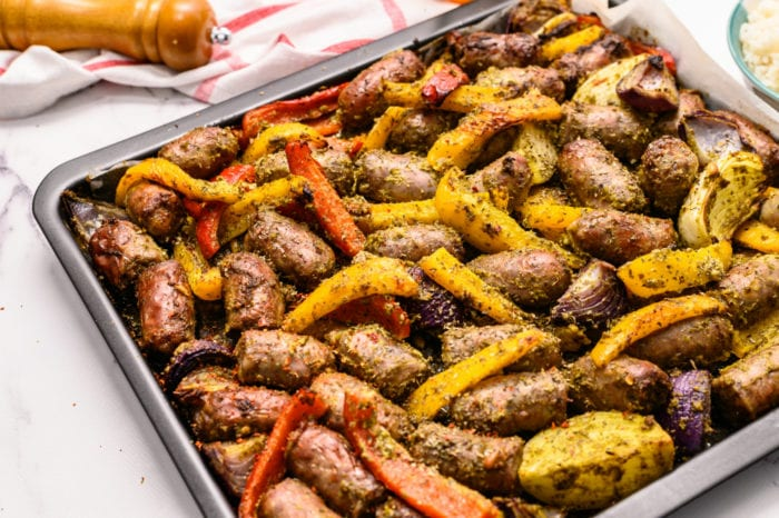 brats and mixed peppers with pesto