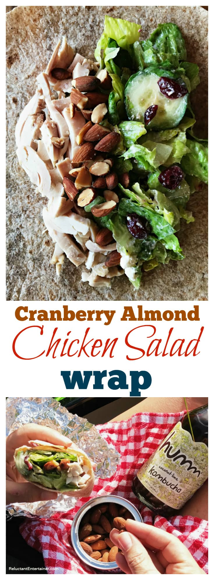 Cranberry Almond Chicken Salad Wrap in partnership with Blue Diamond Almonds