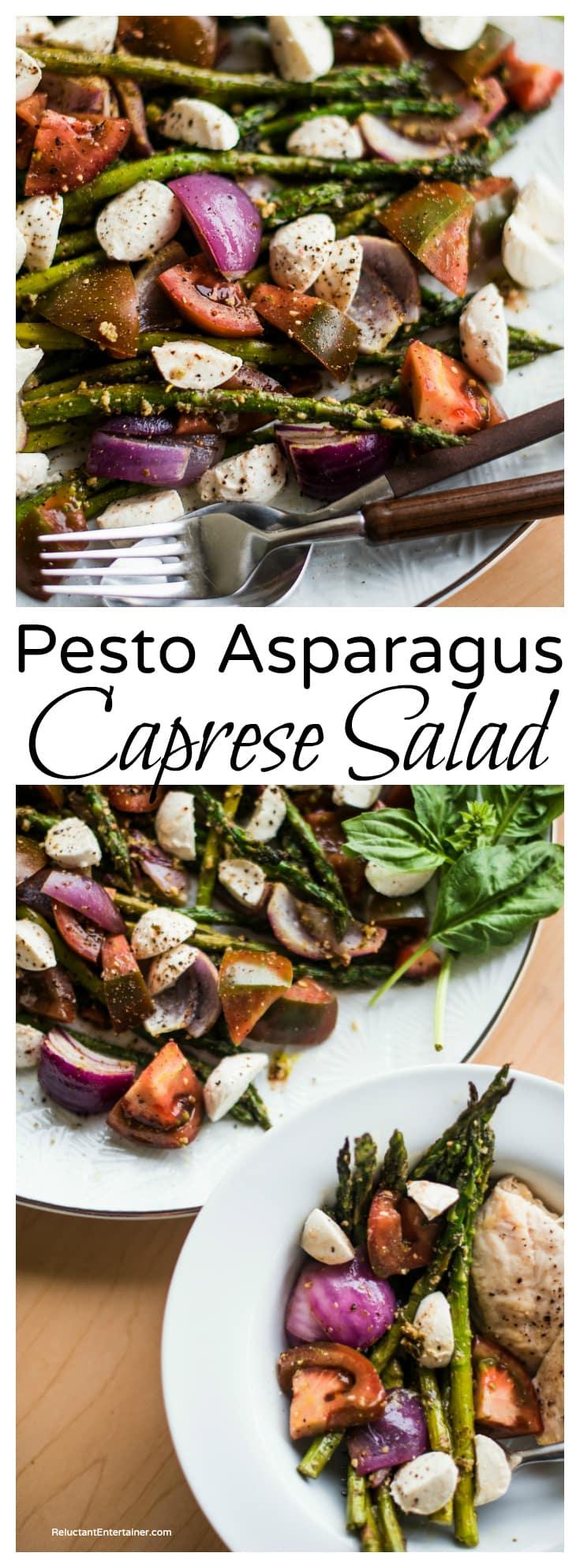BEST Pesto Asparagus Caprese Salad
