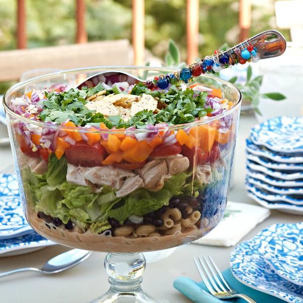 Barbecue Chicken Layered Pasta Salad