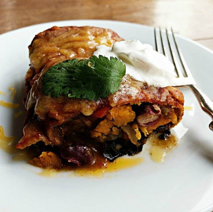 Easy Vegetarian Sweet Potato Bean Enchiladas