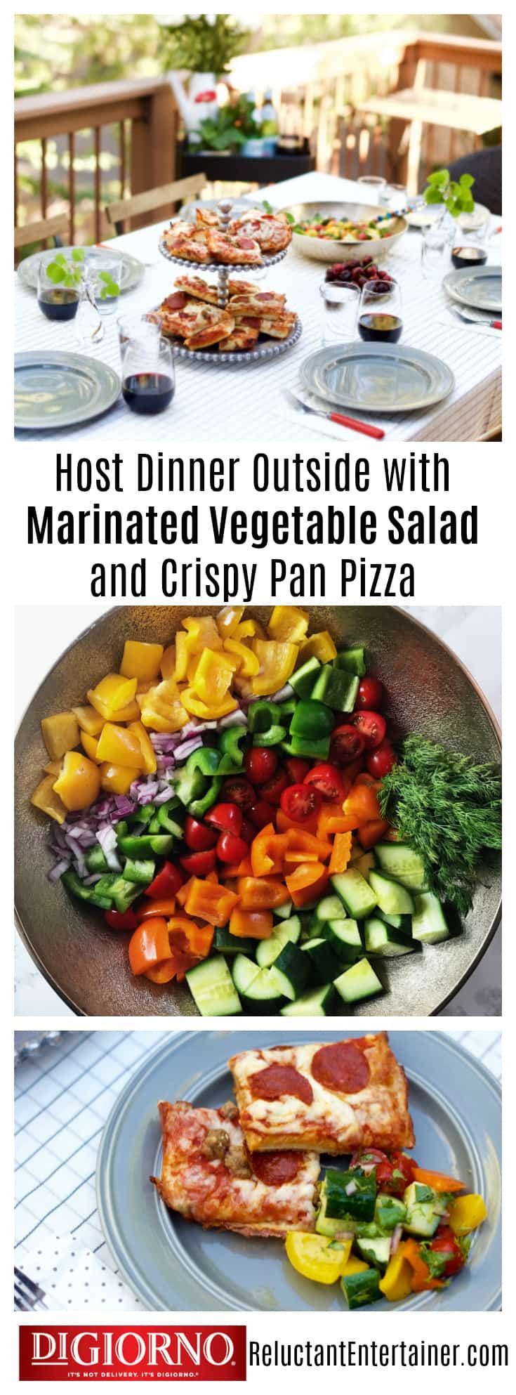 DiGiorno Crispy Pan Pizza with Marinated Summer Veggie Salad
