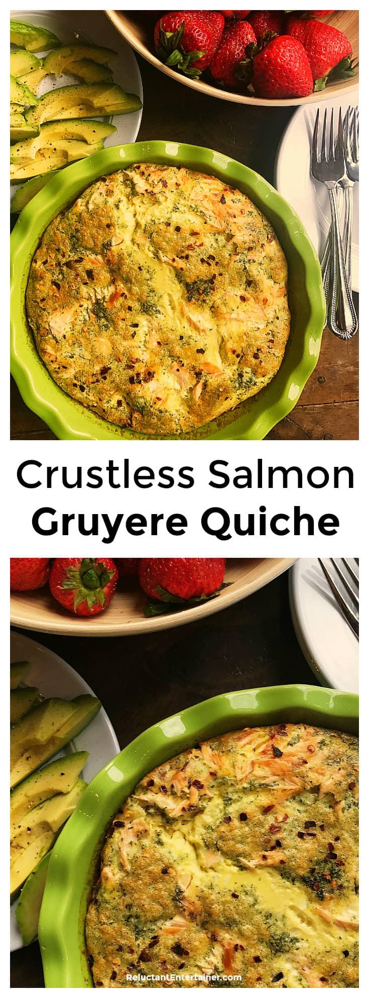 Crustless Salmon Gruyere Quiche Recipe