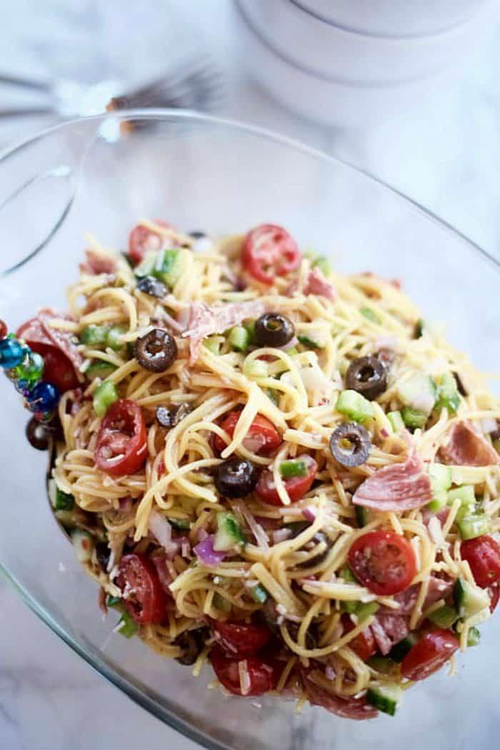 4 Game Day Salads to Serve a Crowd - spaghetti salad