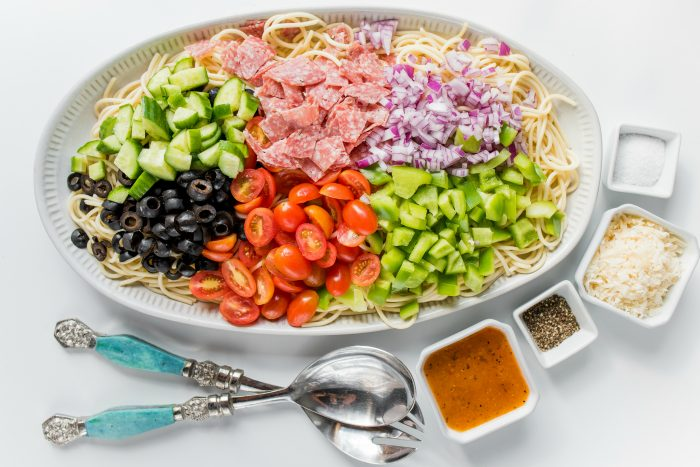 plate of spaghetti salad deconstructed