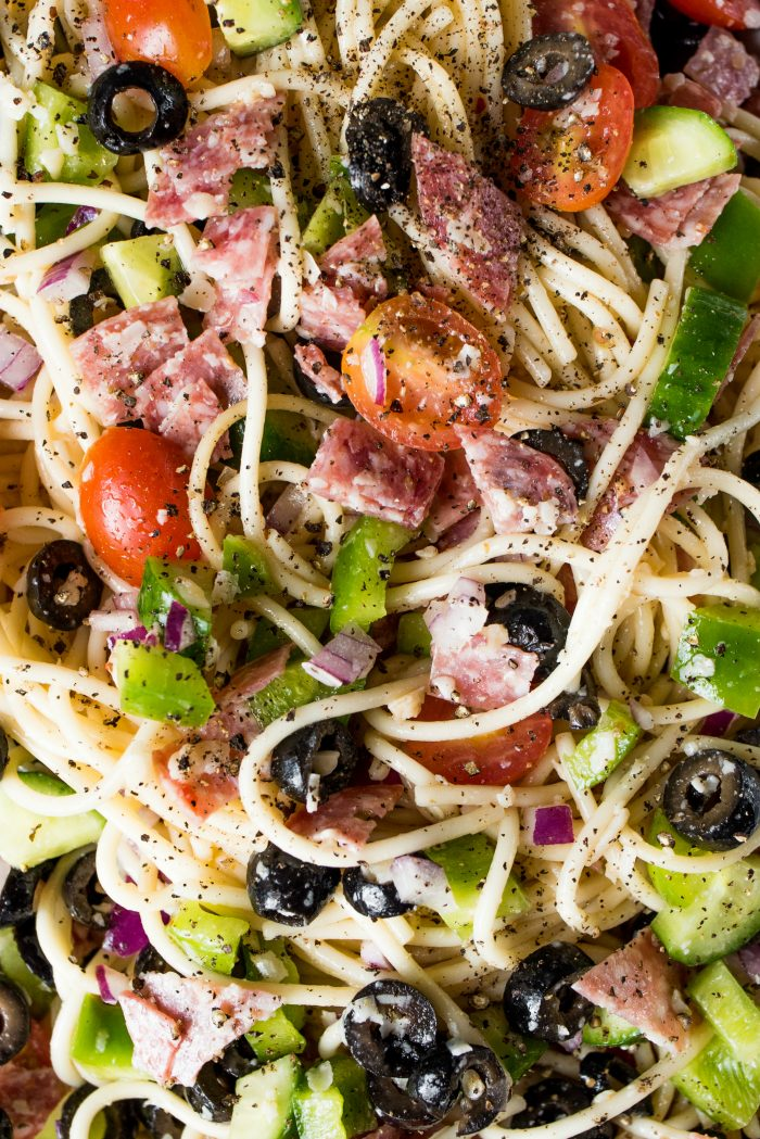 close up shot of best spaghetti salad recipe