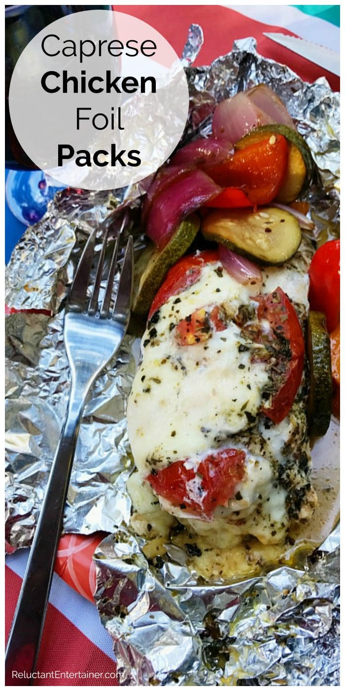 chicken breast with caprese ingredients cooked in foil