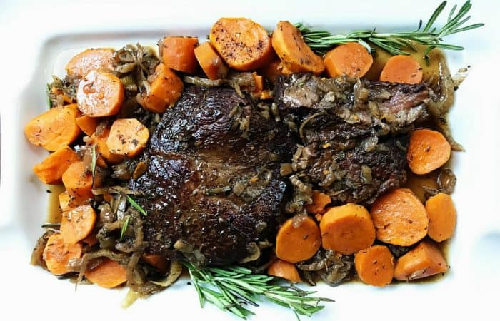 Easy Slow Cooker Sweet Potato Roast Beef Dinner Recipe